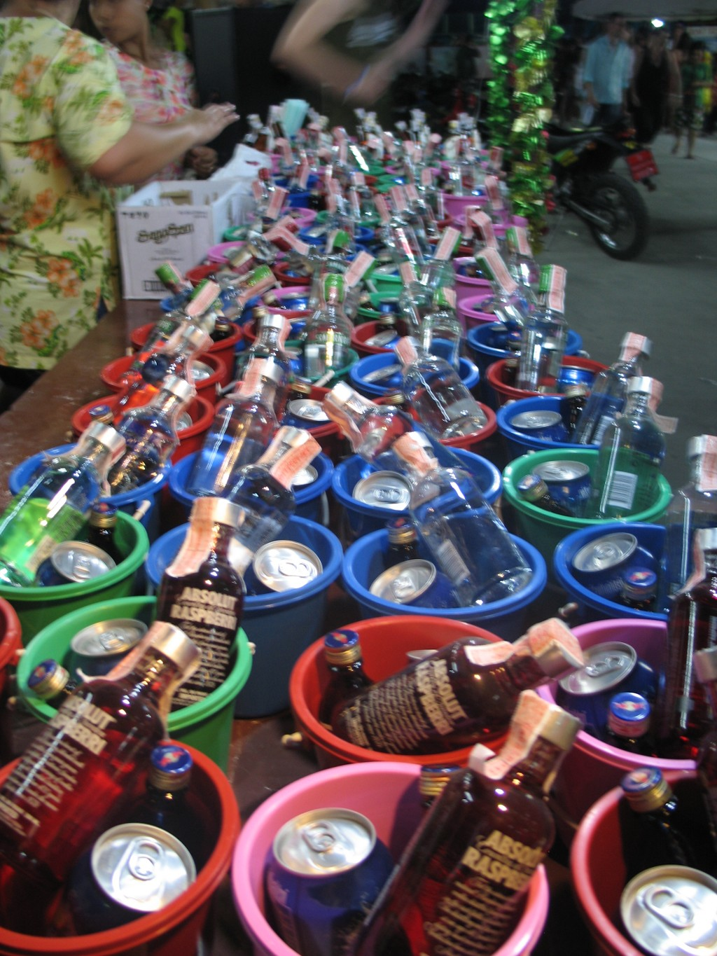 Buckets of alcoholic cocktails at The Full Moon Party