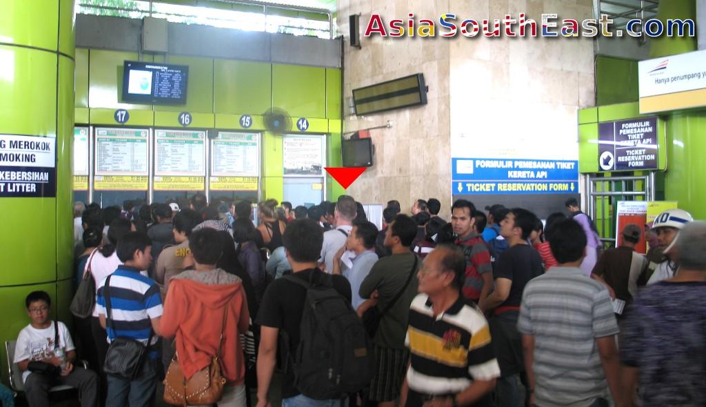 Queue at Jakarta Gambir Train Station, Jakarta, Java, Indonesia